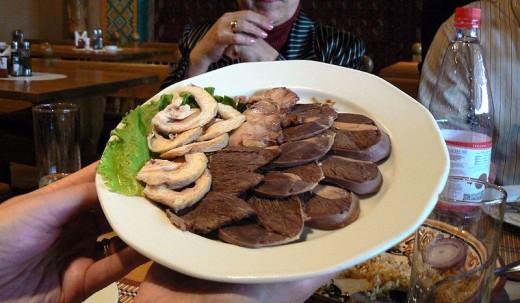 KAZAKH CUISINE - HORSE MEAT PLATTER