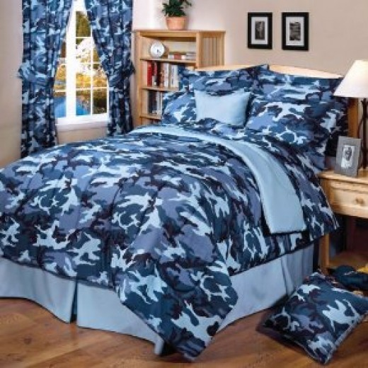 Blue Camouflage Bedding