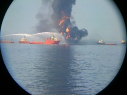 Deepwater Horizon as viewed from the offshore supply vessel Laney Chouest. Copyright salad997 Richard Sullivan