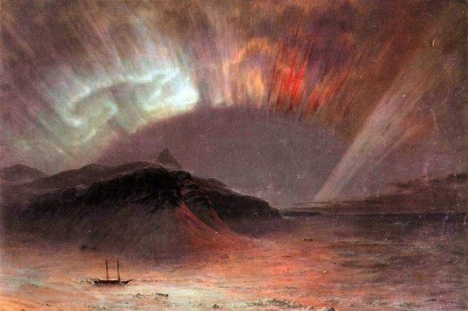 One of the effects of sunspots is increased aurora as depicted in this painting by Frederick Edwin Church.