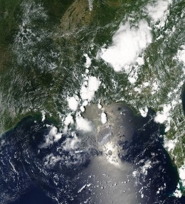 MODIS image of the northern Gulf, June 22, 2010.  Image courtesy Wikimedia Commons and NASA Earth Observatory.