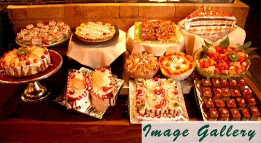 Desserts on display at Barbeque Nation