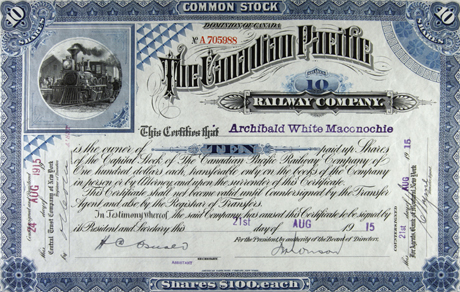 an example of a company's common stock certificate