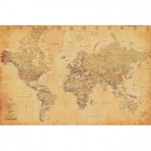 World Map (Vintage Style) Art Poster Print - 36x24