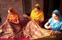 Ladies Make Traditional Phulkari Embroidery