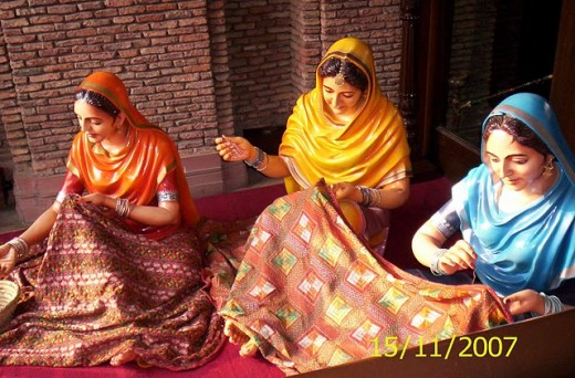 Ladies Make Traditional Phulkari Embroidery