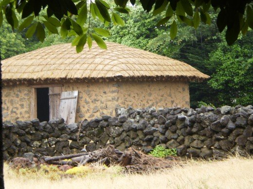 A traditional house at Jeju's Folk Village Museum.