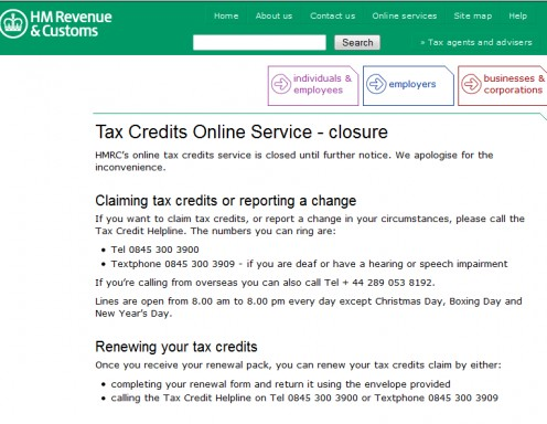 Can you believe this?  After you have been advised to check online to update your details via the helpline from hell - you get this message online!  Gee!