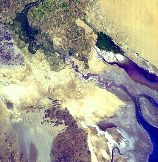 Colorado River delta from NASA's Visible earth collection. Follow link at left for an explanation.