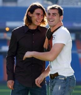 Rafael Nadal and Iker Casillas sharing a joke
