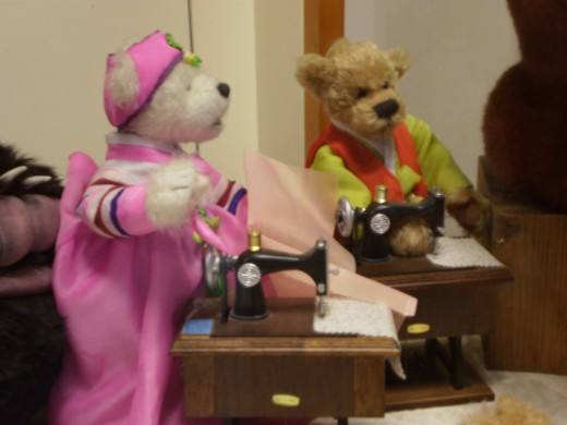Teddy Bears wearing hanbok at the Teddy Bear Museum.