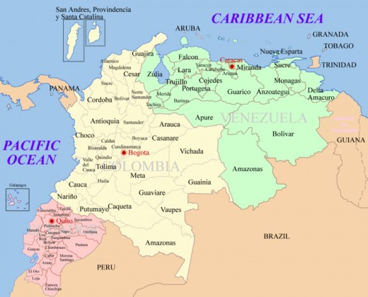 Present-day Venezuela, Colombia, and Equador.  In 1800s, rough boundaries of Gran Colombia