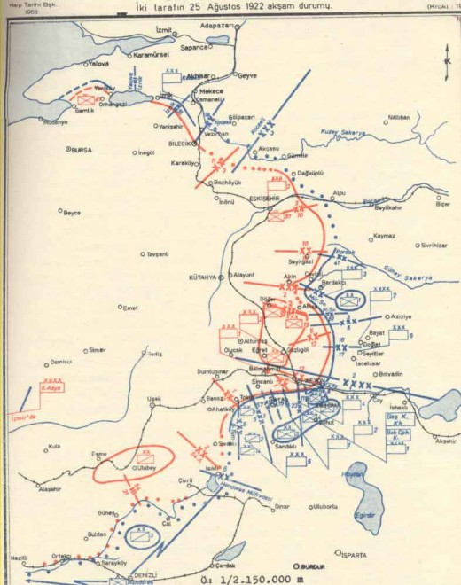 Turkish front as of August 25 1922
