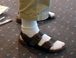 The forbidden combination -- sandals with socks (white socks, to make it worst!)