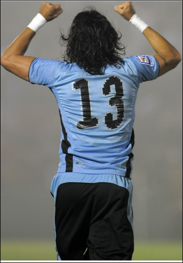 Sebastian Abreu of Uruguay celebrates after the 2010 FIFA World Cup Play Off Second Leg Match between Uruguay and Costa Rica at The Estadio Centenario on November 18, 2009 in Montevideo, Uruguay. (November 2009 - Photo by Laurence Griffiths/Getty Ima