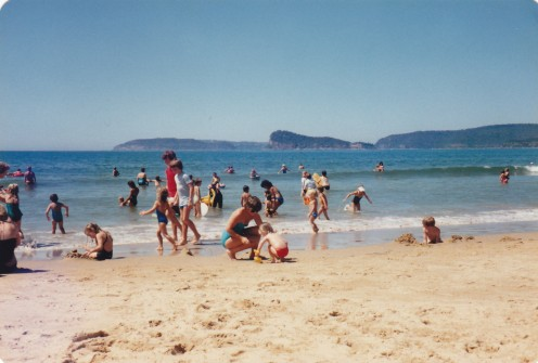 This desire realized: My darling, communicating with her niece - centre of photo -Umina Beach, NSW, just north of Sydney.  Picture taken in 1982.