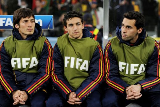 Spain soccer players David Silva (L), Jesus Navas (C) and Alvaro Arbeloa at the 2010 FIFA World Cup South Africa Round of Sixteen match when Spain beat Portugal at Green Point Stadium on June 29, 2010 in Cape Town, South Africa. (June 28, 2010 - Phot