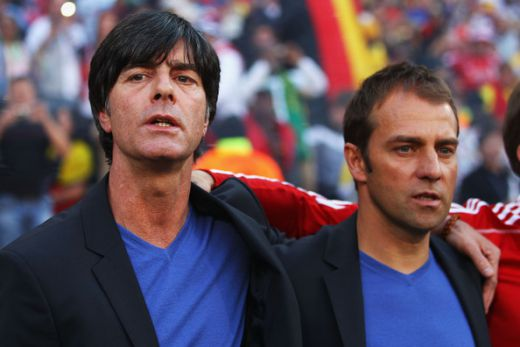 Joachim Loew head coach of Germany and assistant Hans Dieter Flick. (June 26, 2010 - Photo by Michael Steele/Getty Images Europe)