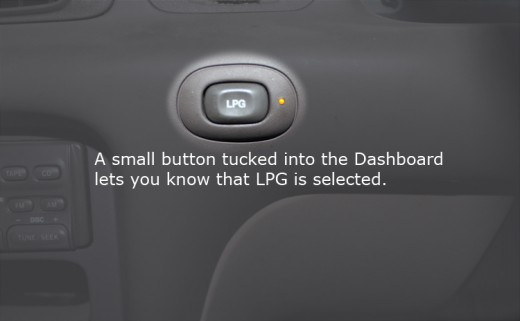 LPG to Petrol change over button mounted in the dashboard