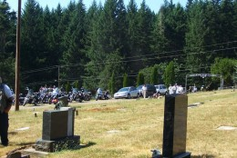 Entering the grave site, Clean & Sober Motorcycle Group led procession from church to grave site.