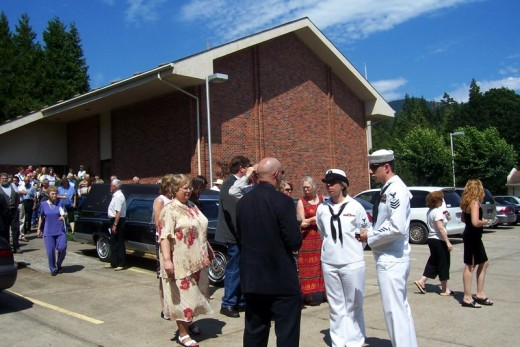 Randy preparing grave side service, leaving the church