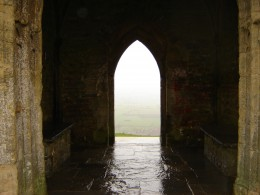 The top of Glastonbury Tor, looking through St Michael's tower into the mists of Avalon.