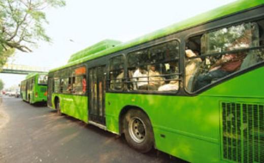 Green buses in Delhi
