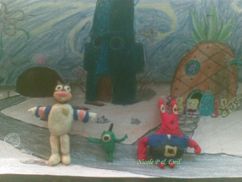 Sandy Squirrel, Plankton and Mr.Krabs Clay Models