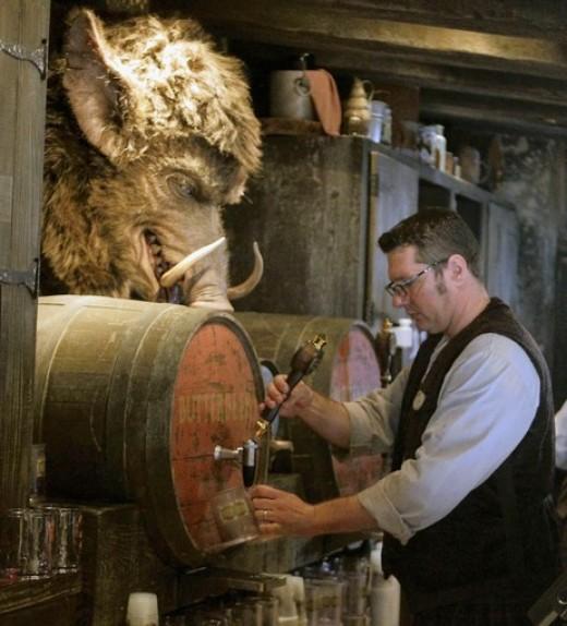 Butterbeer tap inside Hogs Head Pub