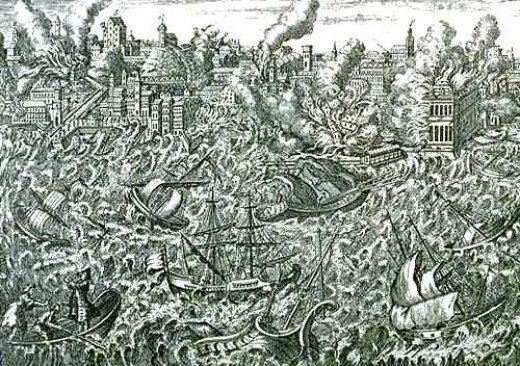 A copper engraving showing the destruction caused in the city due to the devastating earthquake and tsunami.