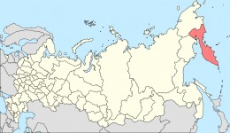 The red region in the map showing The Kamchatka Peninsula.