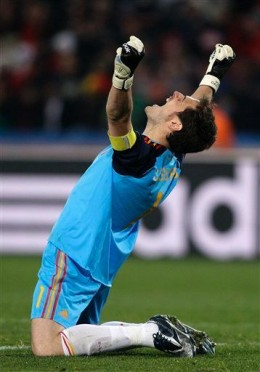 Spain goalkeeper Iker Casillas celebrates at the end of the World Cup quarterfinal soccer match between Paraguay and Spain at Ellis Park Stadium in Johannesburg, South Africa, Saturday, July 3, 2010.  (AP Photo/Ivan Sekretarev)