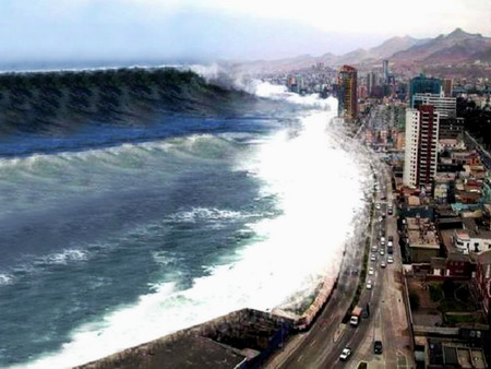 We have not experienced a mega tsunami within memorable history, but there are description in myth that hint of something like a wave depicted here