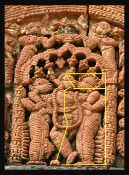 'Krisna' from Shyam-Rai temple,Bishnupur.Ornate canopy with figures. 'Krisna' stands in his typical posture or'bibhanga' .