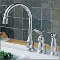 One of the many attractive and stylish Delta kitchen faucets