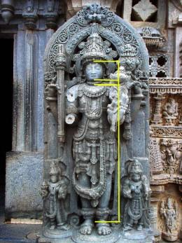 'Vishnu' from a Hoysaha-period temple, Karnataka. Very ornate creation.'Vishnu' stands very erect.