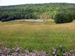 Reclaimed area after installation of a natural gas well in Chemung County, NY.  (DEC.NY.gov)