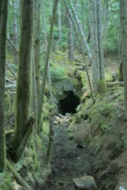 Hiking in East Sooke Park outside of Victoria, BC. This abandoned coal mine is on the Coppermine Trail.