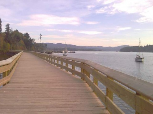 Walk the Rotary Pier just north of the Sooke Town Center. Down below is the crabbing dock.