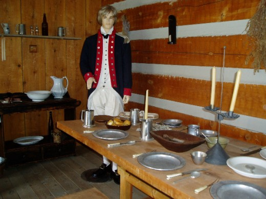 Officer's dining table at Fort Steuben.  Photo by Gerber Ink.