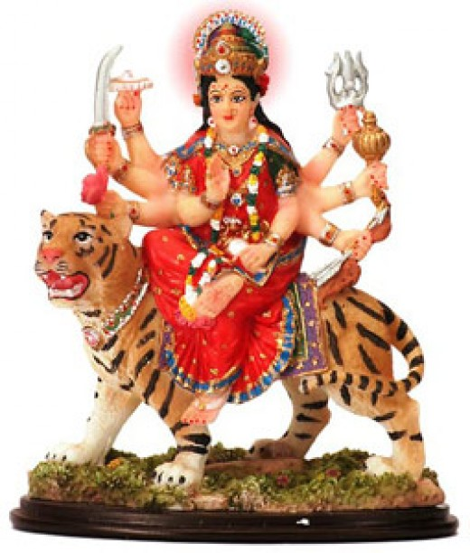Indian myth: Mother Goddess of Power on her tiger
