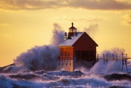 Grand Haven Lighthouse on Lake Michigan, photo by Ed Post