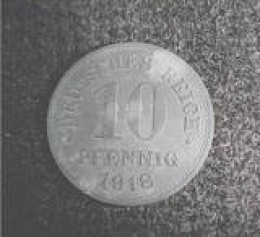 This is a German 10 pfennig coin dated 1918