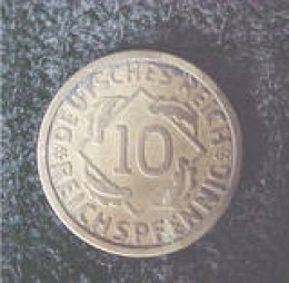 This is a German 10 reichspfennig coin dated 1924 E