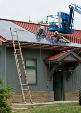 Solar Panels being installed.