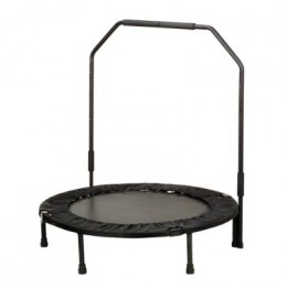 A rebounder with removable stabilizer bar provide additional support for those who need it.
