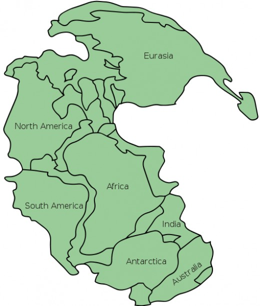 Supercontinent Pangaea - the mother of all lands on Earth now