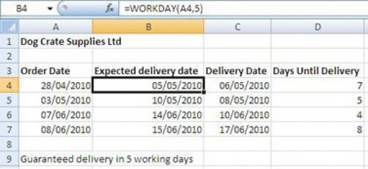 WORKDAY function calculating the expected delivery date