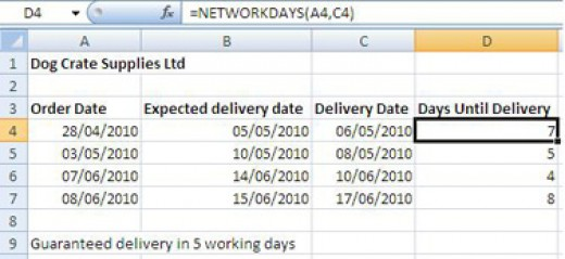 Using the NETWORKDAYS function to find the number of workdays between two dates