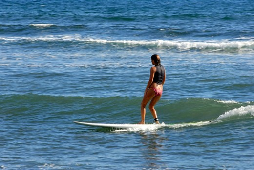 Regular surf stance. This is at Lahaina, Maui, note how gentle the waves are here.